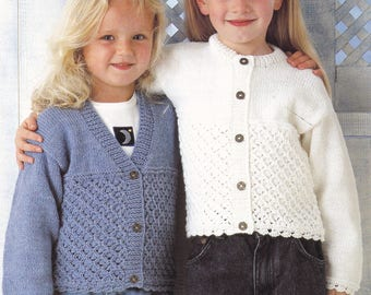 Child's cardigan vintage knitting pattern round neck and v neck double knitting pdf INSTANT download pattern only