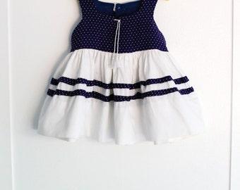 Girls 2: Navy Polka Dot 1950s girl's dress, Full White Skirt with Stripes of Polka Dot Trim, by Yolande
