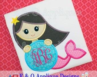 Mermaid Monogram Applique Design - Mermaid Applique Design - Mermaid Embroidery Design - Monogram Applique - Under The Sea - Digital Design