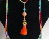 Long beaded necklace , chunky tassel , buddha , beach jewelry , festival coachela necklace , bohemian original necklaces , very long boho