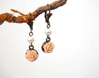 Peach Rose Earrings Bronze Earrings with Flower Victorian Earrings Rose Jewelry Art Nouveau Earrings Renaissance Earrings Baroque Earrings