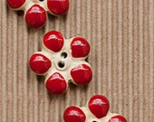 3 Fun Flower Buttons, Red, Black, Green, Handmade, Fully Washable, Incomparable Buttons, ButtonMad