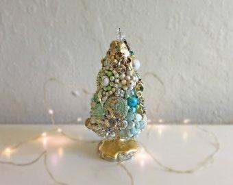 Christmas Tree, Holiday, Bottle Brush Tree, Jewel Tree, Vintage Jewelry, Holiday Decoration, Shabby Chic
