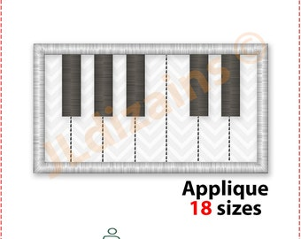 Piano Keyboard Applique Design. Piano embroidery design. Piano keys applique. Piano applique. Applique keyboard. Machine embroidery design