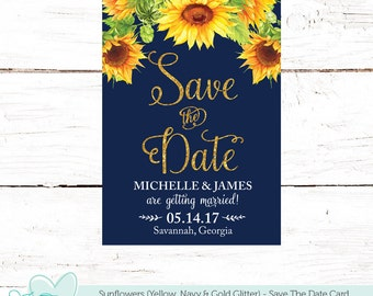 Sunflowers Save The Date Card Navy Yellow and Gold Glitter, Flowers, Save Our Date, Printable, Floral, Tying The Knot, Wedding, Bride, 40S