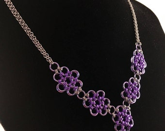 Japanese 12 in 2 flower necklace - Purple chainmaille necklace