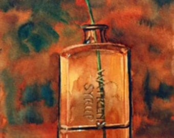 Daisy in vintage bottle painting watercolor