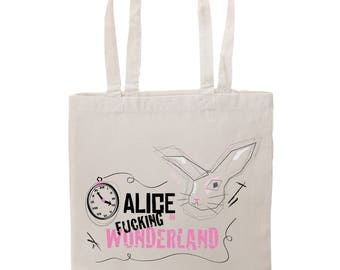 Tote bag Alice in fucking wonderland tattoo graphic bag shopping by decartonetdetoiles