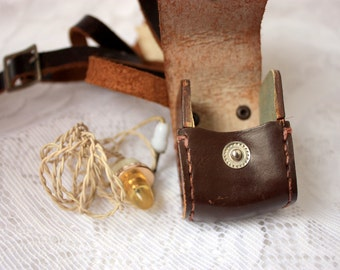 Vintage Earplugs, Earplugs Leather Case, Cloth Silica Bag, Vintage Ear Plugs and Leather Case, Vintage Electronics