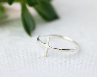 Sideways Cross Ring, Sterling Silver Cross Ring, Christian Rings, Sterling Silver Ring For Women, Religious Rings, Thin Silver Cross Ring,