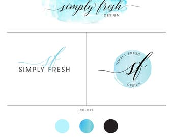 Branding kit, Watercolor splash fresh logo images, Blue Marketing Kit, Quick Branding for Photographer, Designer, Homemade Business