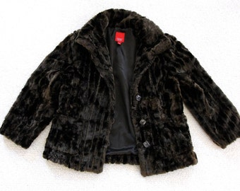 Vintage ESPRIT Brown FAUX FUR Peacoat Jacket Coat Size L