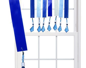 THE BLUES (Midnight Blue) Stained Glass Valance Suncatcher - Blue, silver (BMB)