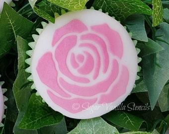 Rose stencil, rose cupcake stencil, baking stencil, rose cookie stencil, rose cupcakes, food stencil, wedding rose, English rose