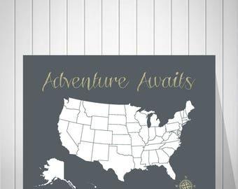 Push Pin US Map, Traveler Gift, Travel Map, Boyfriend Gift, Best Friend Gift, Foam Board Map, Friend Birthday Gift, Wall Art, Us Map - 47677