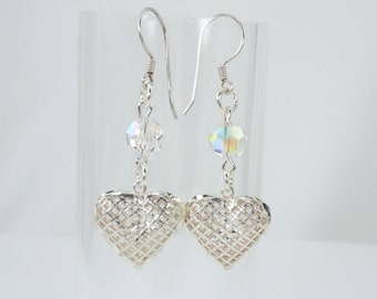Sterling Silver Puffy Heart and Crystal Earrings, Drop Earrings, Dangle Earrings, Swarovski Crystals, AB Crystals, Valentine's Day