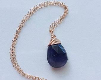 Iolite Necklace, 14k Rose Gold Necklace, Rose Gold Iolite Necklace, 14k Rose Gold Pendant, Dark Purple Iolite Gemstone