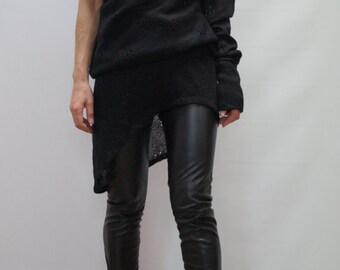 Asymmetrical Sweater/Sweater with One Sleeve/Black Asymmetrical Sweater/ Top Sweater Dress/Knitwear Dress/Long Women Wool Sweater Coat/F1250