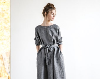Oversized loose fitting grey linen - wool blend dress with DROP SHOULDER long sleeves / Washed linen tunic dress in grey linen - wool blend