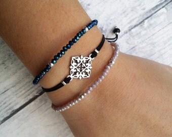 Charm bracelet, beaded bracelet, friendship bracelet, crystal bracelet, dainty bracelet, silver bracelet, wishbone charm, everyday, gift