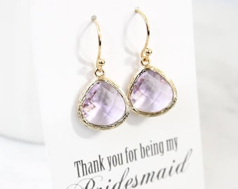 Lavender earrings, Stone dangle earrings, Bridesmaid gift, Bridal earrings, Maid of honor gift, Gift earrings, Wedding earrings,