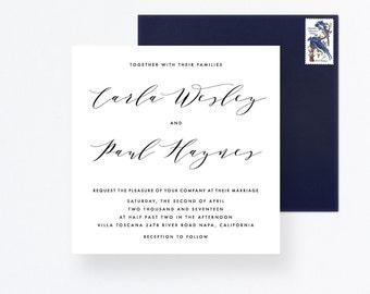 Invitation Set, Wedding Invite Suite, Calligraphy Wedding Card, Square Invitation, Wedding Calligraphy Suite, Wedding Square Invitation