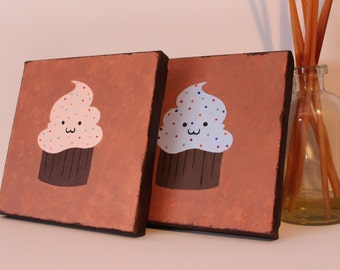 "Cute little cupcake acrylic painting, one (1) pink or blue 6x6"" canvas"