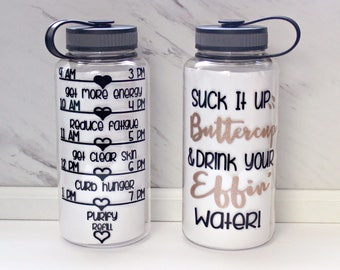 Motivational Water Bottle - Suck it up Buttercup and Drink Your Effin Water - cute water bottle drink by Limboea Water bottle BPA free 34 Oz