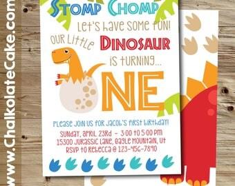 DINOSAUR FIRST BIRTHDAY Invitation, Dinosaur Invitation, Baby Dinosaur Party Printable, One Year Birthday Invitation