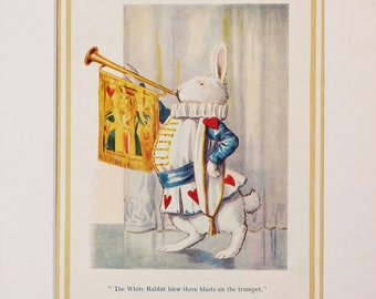 Alice in Wonderland Mounted Print, the White Rabbit, 1930s Vintage Colour Print by Margaret Tarrant