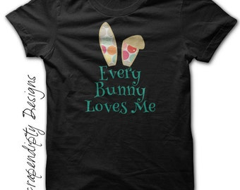 Boys Easter Outfit - Easter Bunny Ears Shirt / Every Bunny Loves Me / Toddler Boys Easter Shirt / Newborn Baby Bunny Clothes / Baby Shower