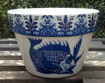 Country Cottage Le Jardinier Collection Fish Planter Cache Pot, Blue & White French Country, Farmhouse, Cottage, Gardener, Wedding Gift
