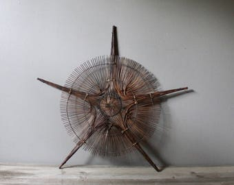 Vintage woven rattan wall hanging | basket wall hanging | woven wicker star