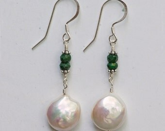 Emerald & Coin Pearl Earrings