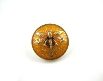 Amber Dragonfly Czech Glass Buttons Amber Gold Dragonfly Czech Glass Handmade Buttons Amber Gold Buttons 18mm (1 pc) 60BV3