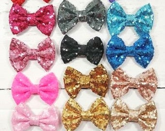 sequin bow clip sequin bow headband toddler hair clip baby hair clip glitter bow clip glitter bow headband gold sequin bow red sequin bow