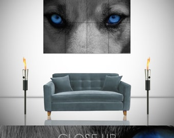 Wolf Blue Eyes Stunning Night Hound Gothic Fantasy Giant Poster in 8 or 4 Pieces Wall Art Print
