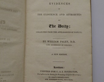 Natural Theology or Evidences by William Paley 1826 New Edition