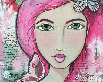 Just Breathe Giclee Print 10x10 Mixed Media Girl
