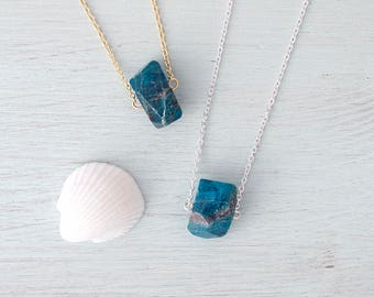 Apatite Necklace - Small Blue Apatite Nugget Necklace - Genuine Apatite Crystal Necklace - Natural Dark Blue Apatite Gemstone Necklace