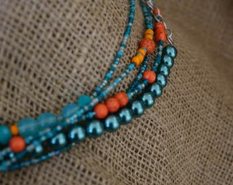 Teal and Orange Necklace, Teal Necklace, Aqua Necklace, Multi Strand Necklace, Statement Necklace, Colorful Necklace, Teal Pearls, Beaded
