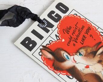 Vintage VALENTINE Gift Tag, Bingo Valentine, Squirrel, Cute Kitschy Gift Tag