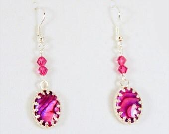 PAUA SHELL EARRINGS, paua shell jewelry, pink paua shell, pink oval shells, shell earrings, pink earring, pink jewelry, silver bezel - 1794G