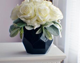 Silk Flower Arrangement, Roses Arangement, Every Day Floral, Wedding  Centerpiece Table Centerpiece,