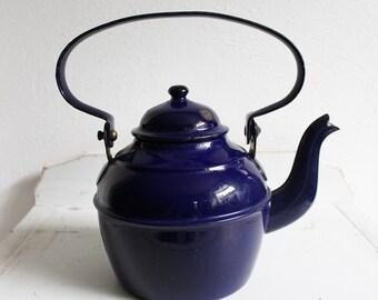 Vintage enamel dark blue teapot