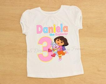 Dora Birthday Outfit, Dora Tutu, Personalized Dora Outfit, Dora Dress,Dora the Explorer Shirt,Dora the Explorer Birthday Shirt,Dora Explorer