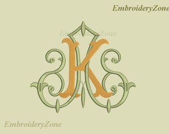Machine embroidery design A & K Double antique monograms in old style  2 monograms A and K Fonts KA AK. 7 sizes.  Hoop 4x4 5x7 6x10 7x11