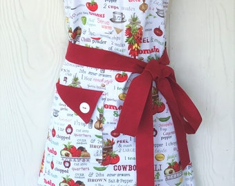 PLUS SIZE Apron, Tex-Mex Apron, Mexican Cuisine, Retro Style, Cooking Apron, Mexican Recipe Motif, KitschNStyle