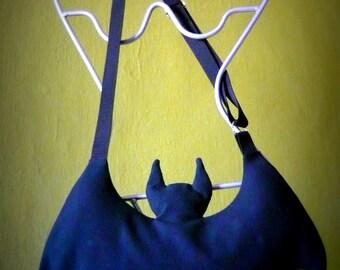 BAT BAG - Batwoman Batman bag, bat wings bag, creepy cute bag, goth bag, Halloween accessories, vampire costume, trick or treat bag - BLACK