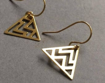 Triangle Earrings, Gold Triangle Earrings, Gold Jewellery, Gold Vermeil Earrings, Minimal Earrings, Birthday Gift